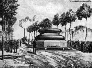 Traslado del zócalo de la columna para el monumento a Colón