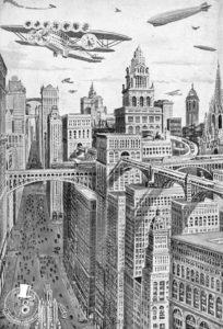 Visió futuristica de Barcelona als anys 30