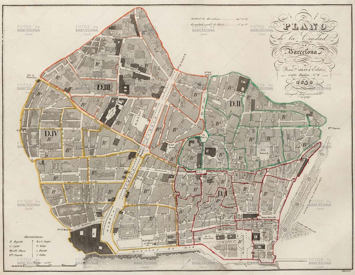 Plano de Barcelona de 1840