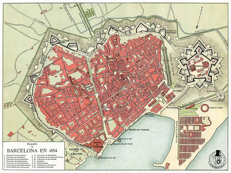 Mapa de Barcelona en 1854
