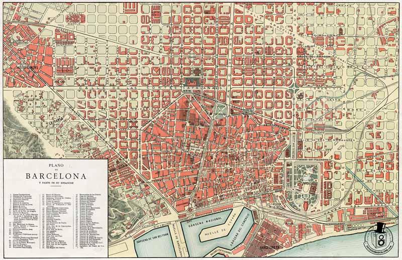 Mapa de Barcelona de c.1920