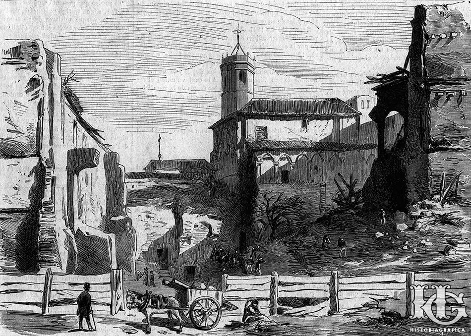 Sant Pere de les Puelles. Gravat de 1874
