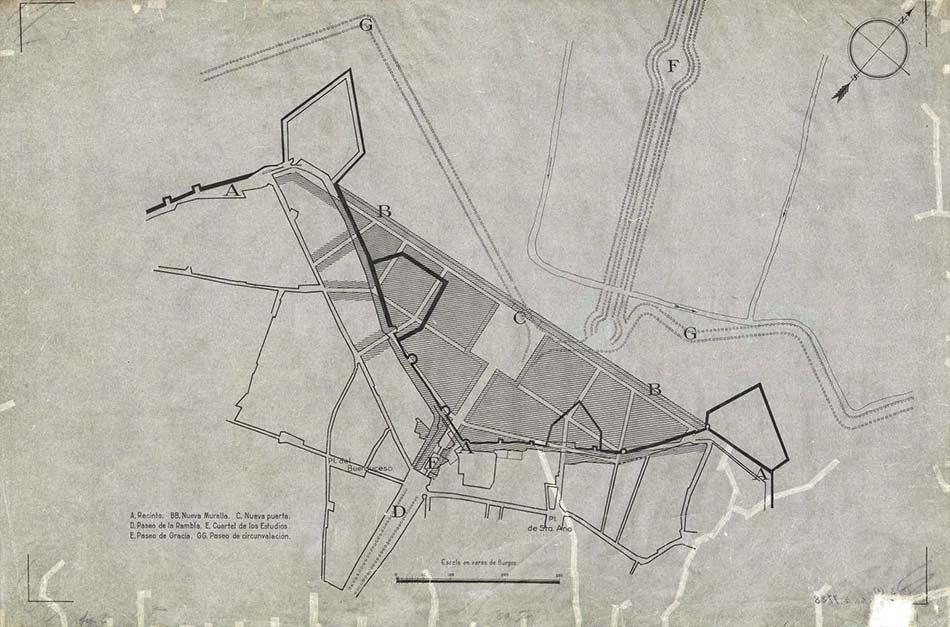 Plànol urbà de l'Ajuntament de Barcelona, amb l'àrea de les muralles de Barcelona (entre la Plaça del Bonsuccés i la Plaça de Sta. Anna).