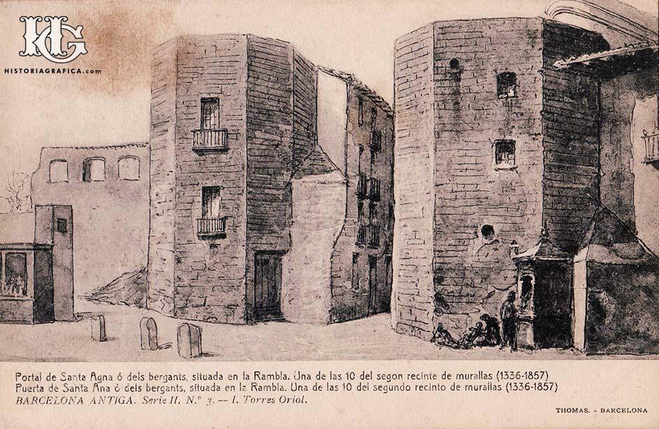 Dibuix del Portal de Santa Anna. Postal editada per Thomas a principis del segle XX.