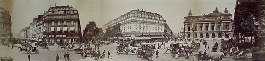 Plaza de la Ópera de París en 1888. Fotografía de Paul Moëssard tomada con su cilindrógrafo