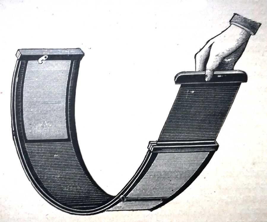 Parte trasera de la cámara fabricada en caucho para poder doblarse y donde se colocaba la placa sensible seca.
