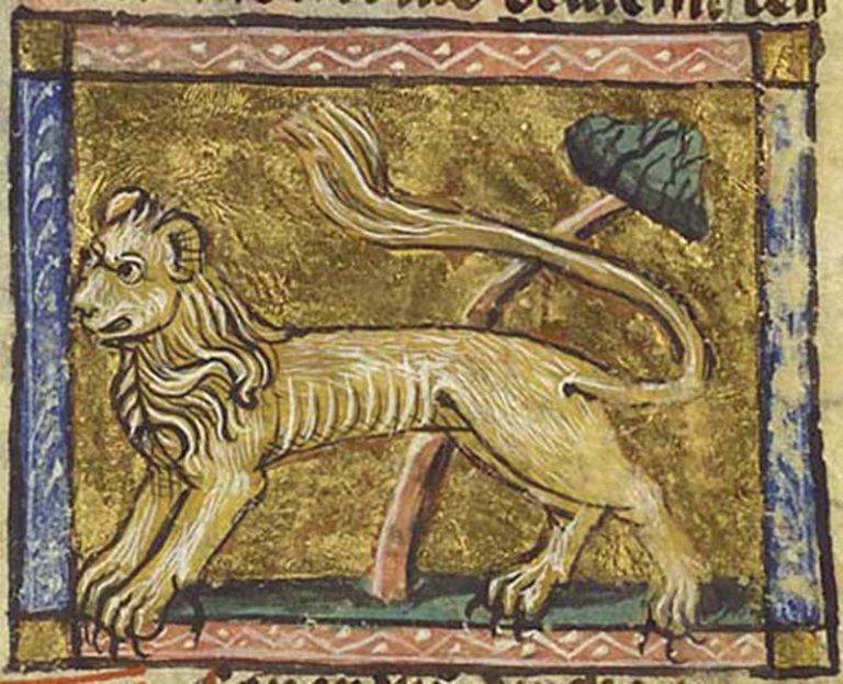 Ilustración de un león que aparece en el manuscrito Der Naturen Bloeme