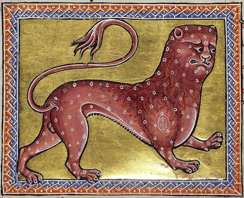 Imagen de una fiera del bestiario de Aberdeen, manuscrito inglés escrito en latín en el siglo XII), folio 8 verso