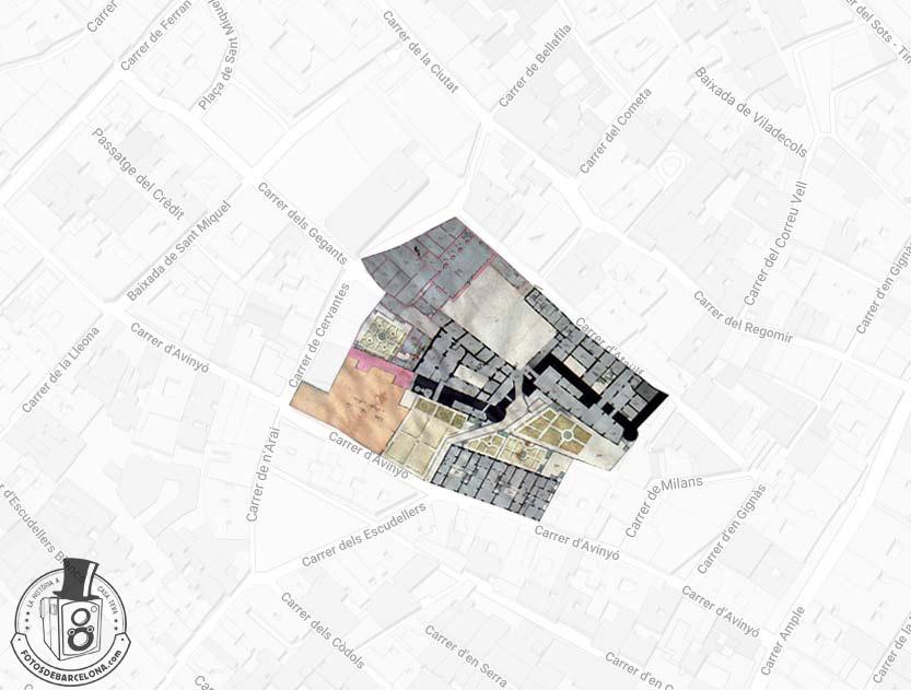 Superposición planimétrica del Palau Reial Menor sobre el trazado urbano actual.