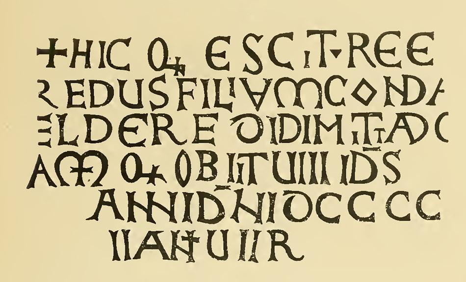 Inscripción funeraria en la puerta románica del claustro de la catedral de Barcelona.