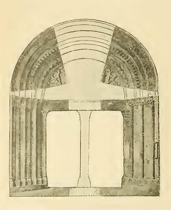 Dibujo de la puerta románica del claustro de la catedral de Barcelona.