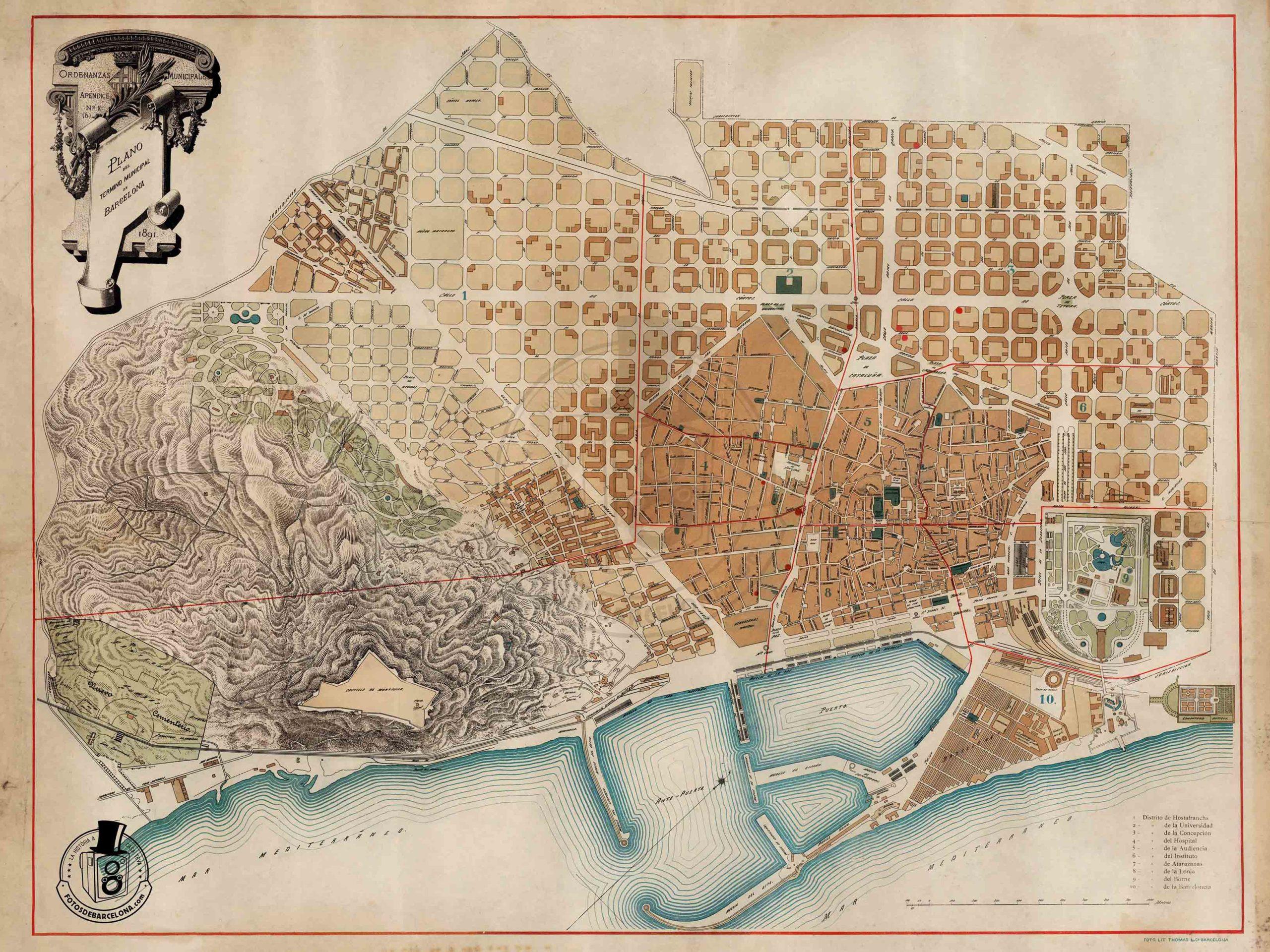 Plano de Barcelona 1891