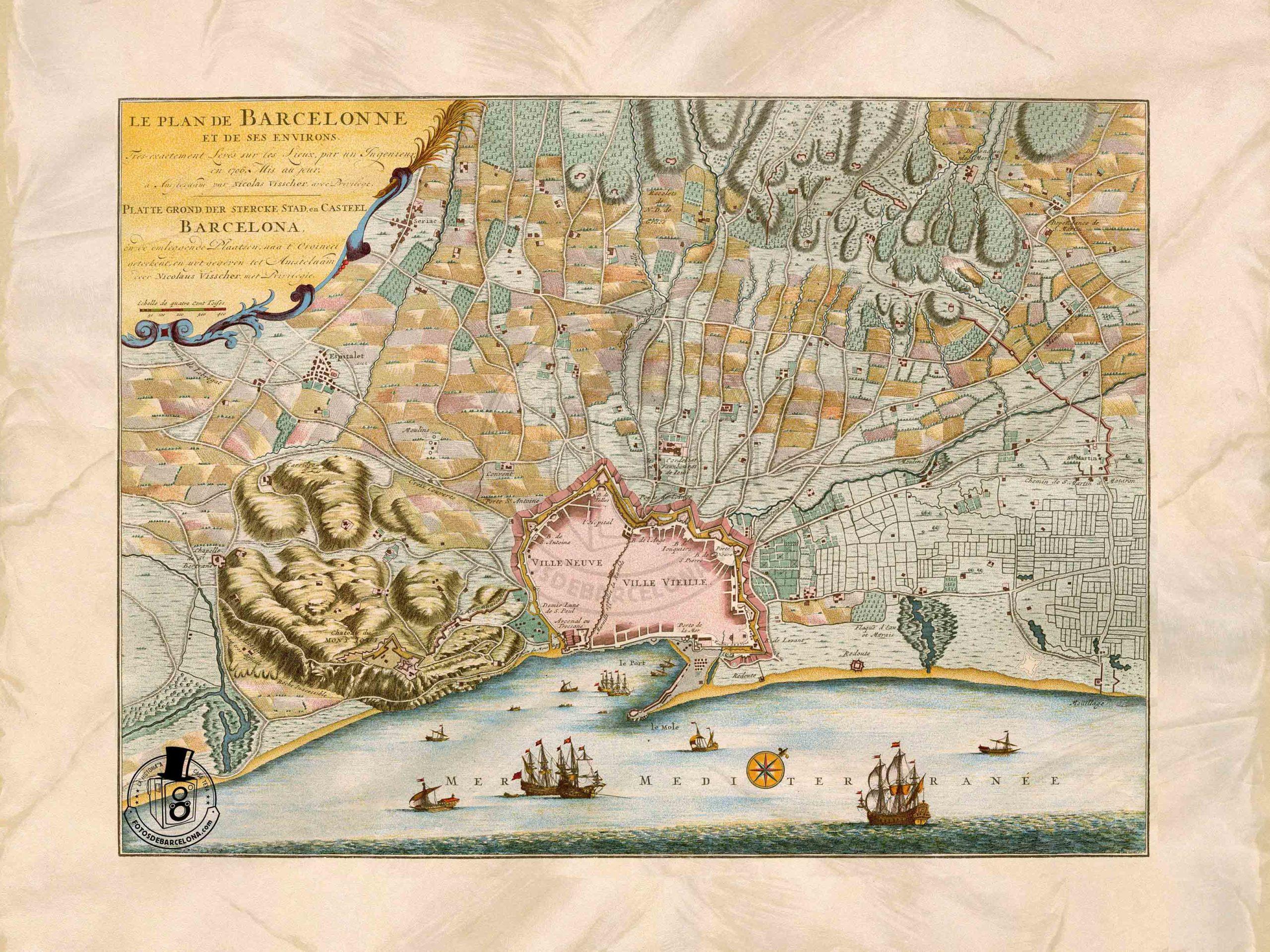 PLÀNOL DE BARCELONA DE 1706