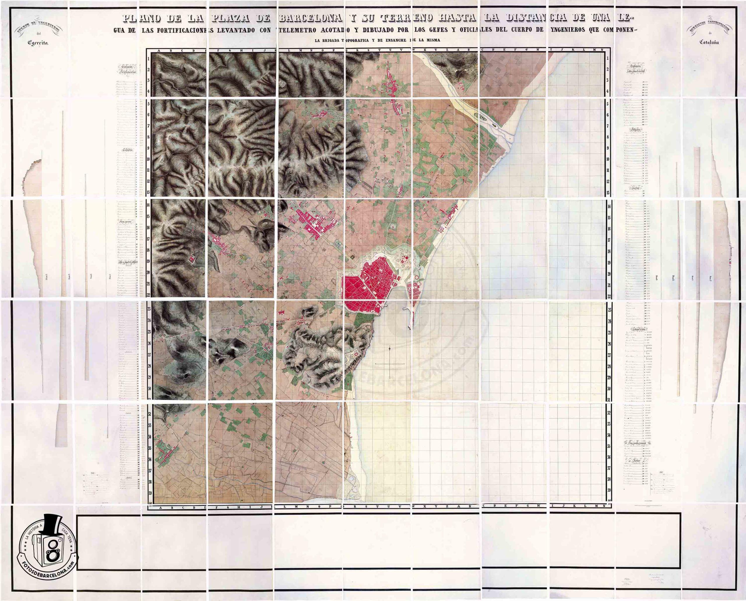 PLÀNOL DE BARCELONA 1853