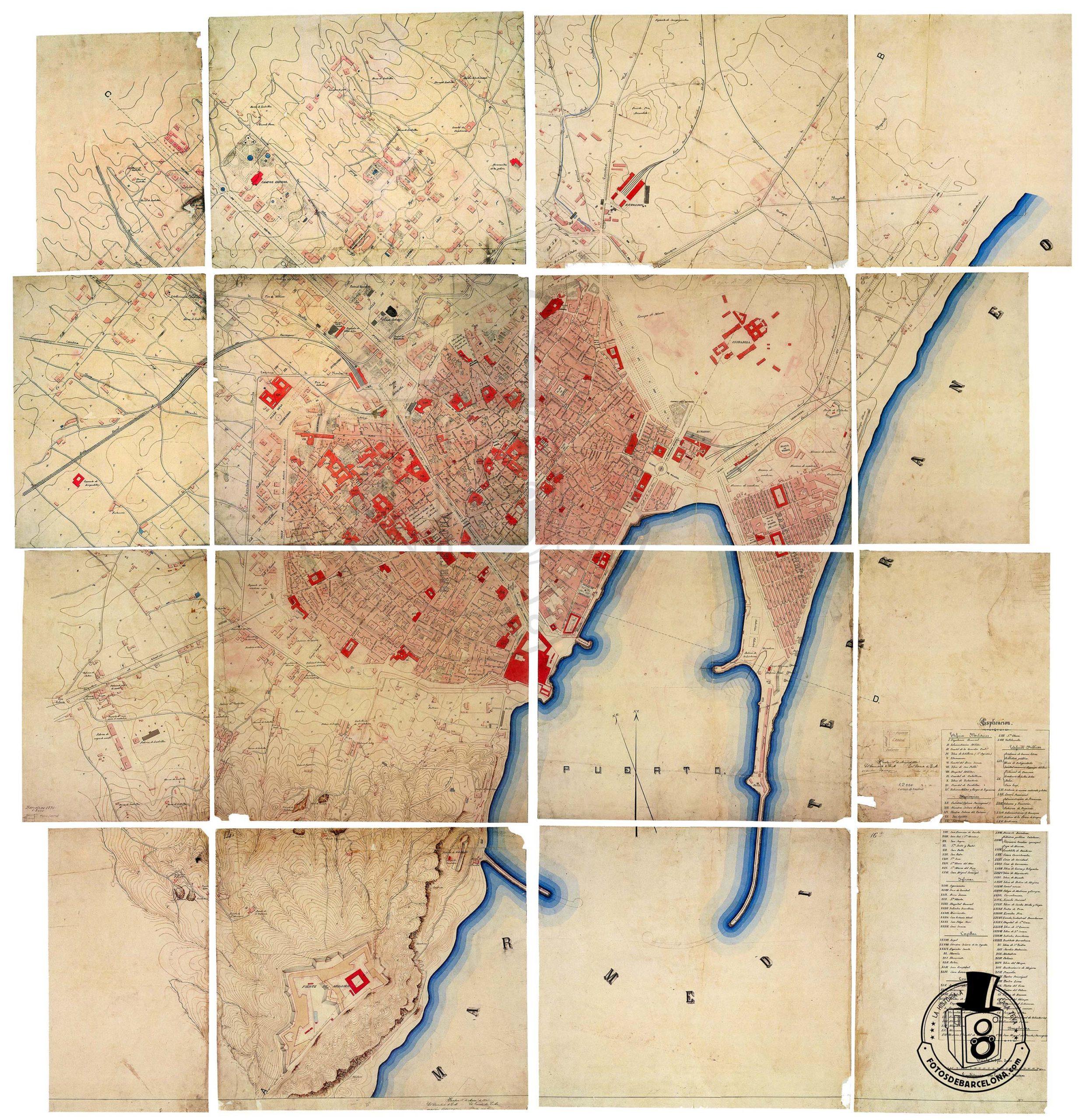 PLÀNOL DE BARCELONA 1870