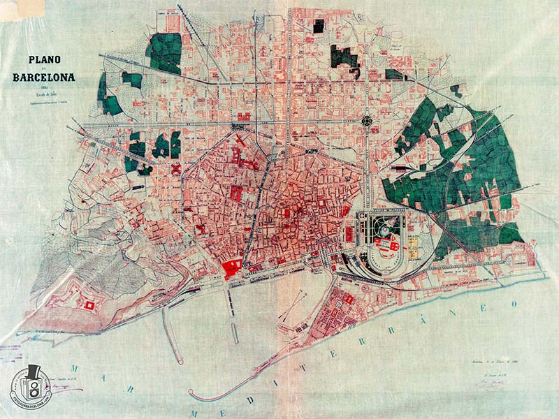 PLÀNOL DE BARCELONA 1885