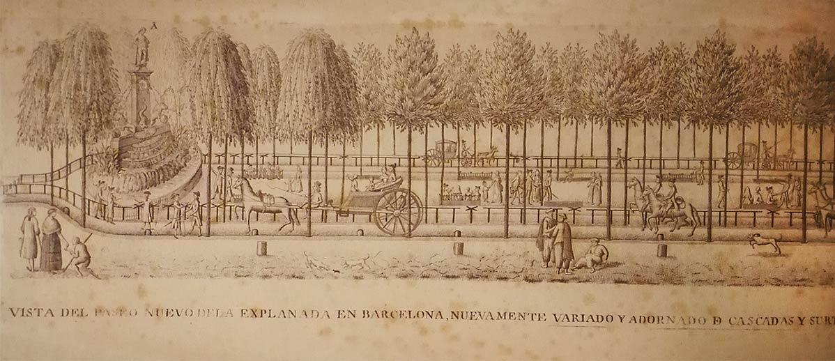 Detalle del paseo de la Esplanada de barcelona